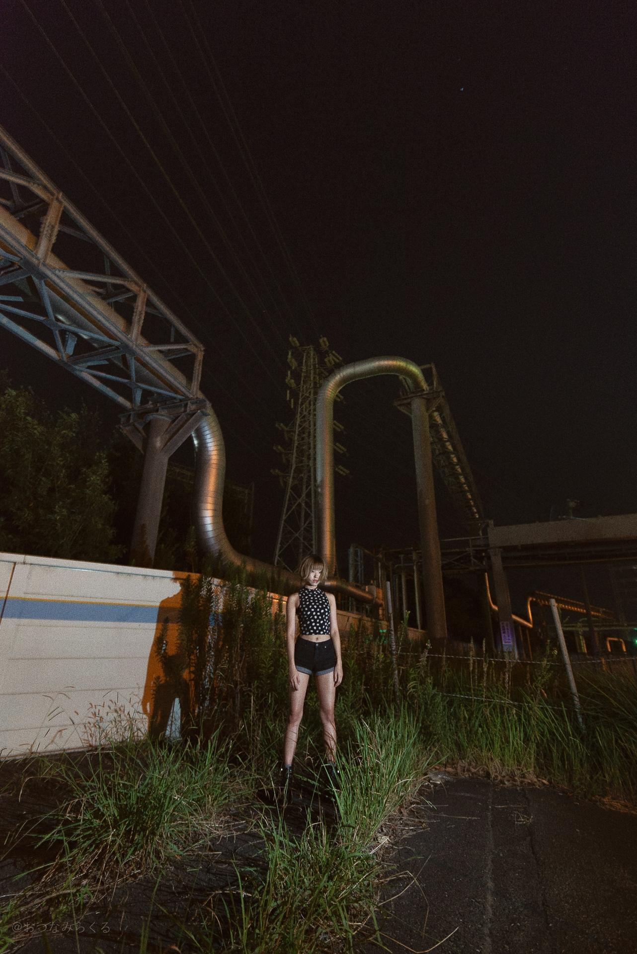 夜景ポートレート 工場夜景 ナイトポートレート